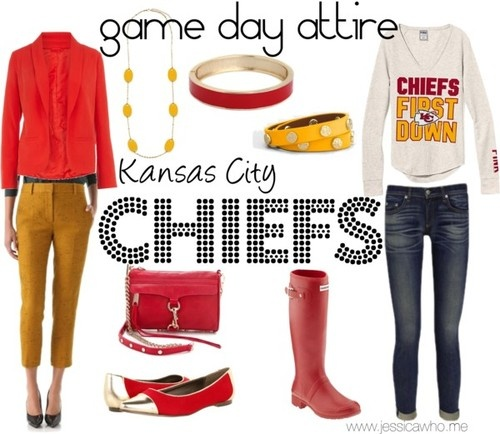 game day attire: chiefs ...the one on the right. Definitely not the one on the left. How could you play football in the parking lot with that on??