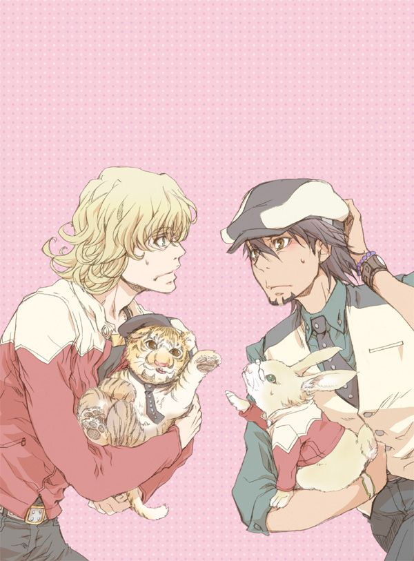 Tiger & Bunny, Kotetsu and Barnaby, overwhelmed by pet parentage.