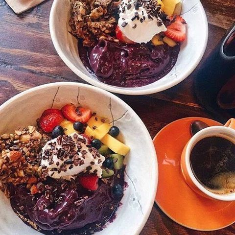 See this Instagram photo by @vegsociety • 100 likes Raw, vegan açaí bowl at @monkbodhidharma served with granola, fresh fruit and a coconut probiotic. The perfect all day breakfast spot 🍇☕️💥