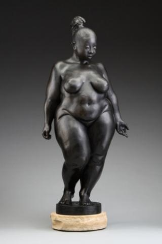 "Galatea, a bronze scuplture by Adam Schultz. ""Through creating images of female figures that are typically greeted with negativity, and rendering them with a certain confidence and sensuality, I remind the viewer that beauty comes in the wondrous delightful variety seen in every body."""