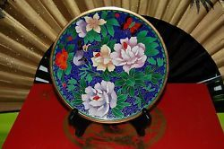 Exquisite Cloisonne over Bronze Plate Flowers Bird and Butterfly