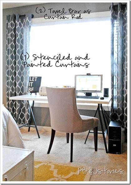 DIY bedroom ideas! Painted curtains... towel bar as curtain rod =) LOVE it