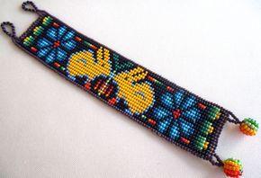 Mexican Huichol Beaded peyote and rabbit bracelet by Aramara