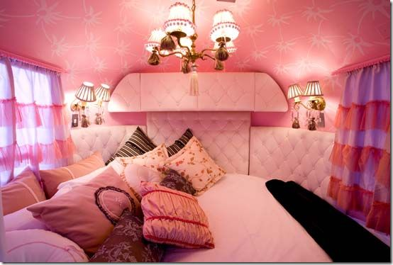 awesome pink camper interior