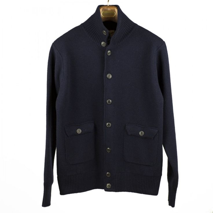 GRP Navy High-collar Lambswool Knitted Jacket
