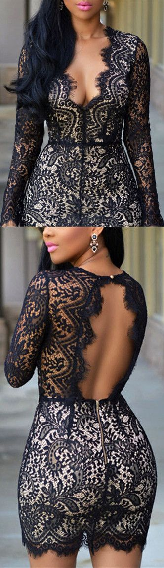 Plunging Neck Lace Black Dress