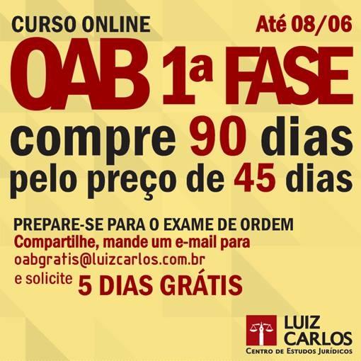 OAB ONLINE: Compre a licença de 90 dias e pague o valor de 45 dias!  http://scup.it/2o79