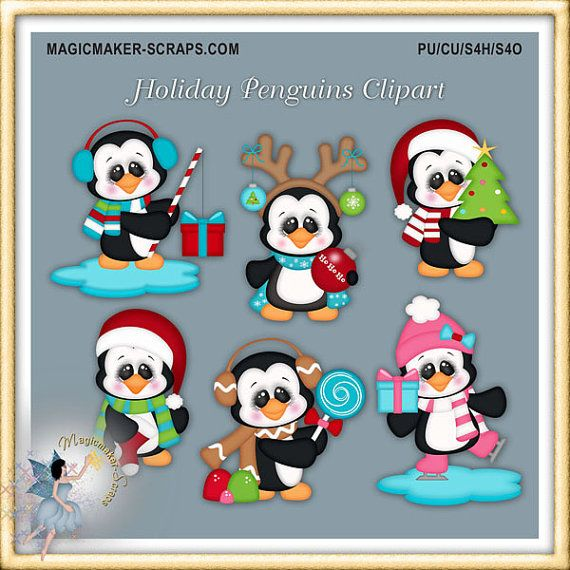 Imágenes Prediseñadas de pingüino de Navidad vacaciones
