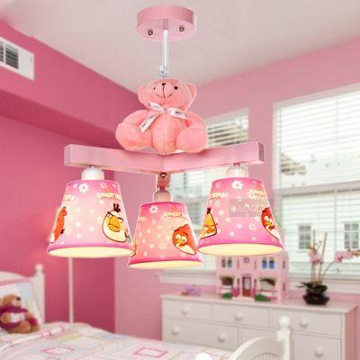 Cartoon Bear Children's Room Pendant Lamp Cute Baby Room Pendant Lights Girl's Bedroom Chandelier