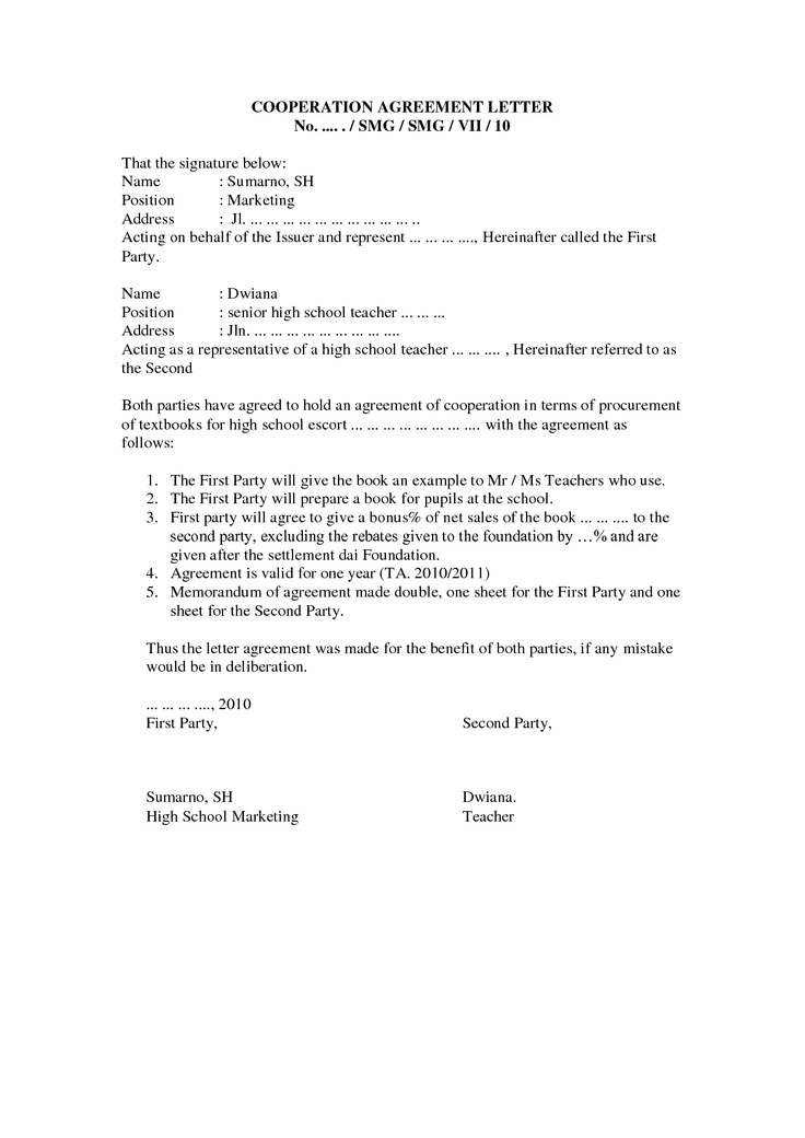 8 best Agreement Letters images on Pinterest Sample resume - sample business agreements