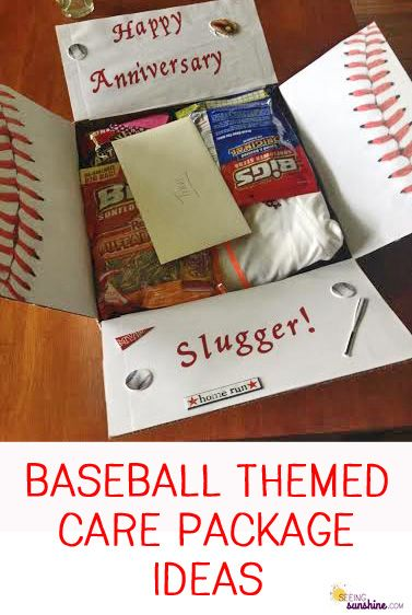 Baseball Theme Care Package Ideas -- How to decorate and lots of ideas for things to include inside.
