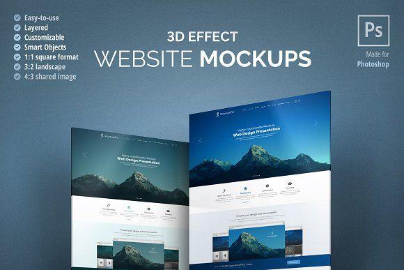 3d Effect Website Mockup Website Mockup Web Mockup Mockup Free Psd