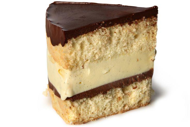 A vanilla-ice-cream-filled, chocolate-glazed cake recipe.