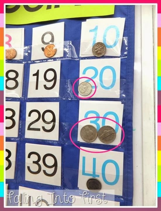 Counting money. Use a pocket chart that counts to 100 to build Coin Counting Fluency!