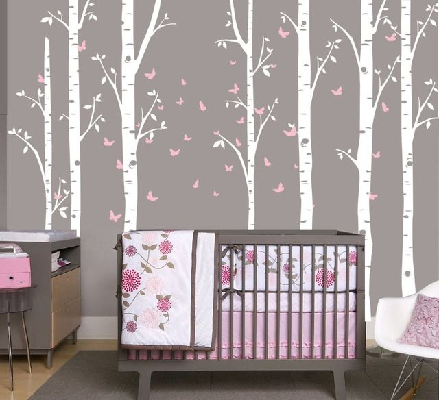 "96"" Large Birch Tree Branch Decal with Butterflies set of 7 Trees, Butterfly Nursery Baby Room Wall Decoration W-16"