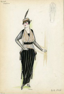 """""""Dress, Callot Soeurs, 'Astoria', 1914. Long black dress with draped skirt and tassels; beige draped overblouse trimmed in gold with tassels; sheer black long sleeves; small fedora with single black feather. (Bendel Collection, 007-16)"""", 1914. Fashion sketch. Brooklyn Museum, Fashion sketches. (Photo: Brooklyn Museum, SC01.1_Bendel_Collection_HB_007-16_1914_Callot_SL5.jpg)"""
