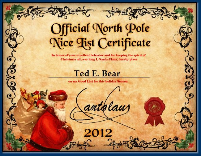 Santas nice list certificate template search results for Nice list santa letter