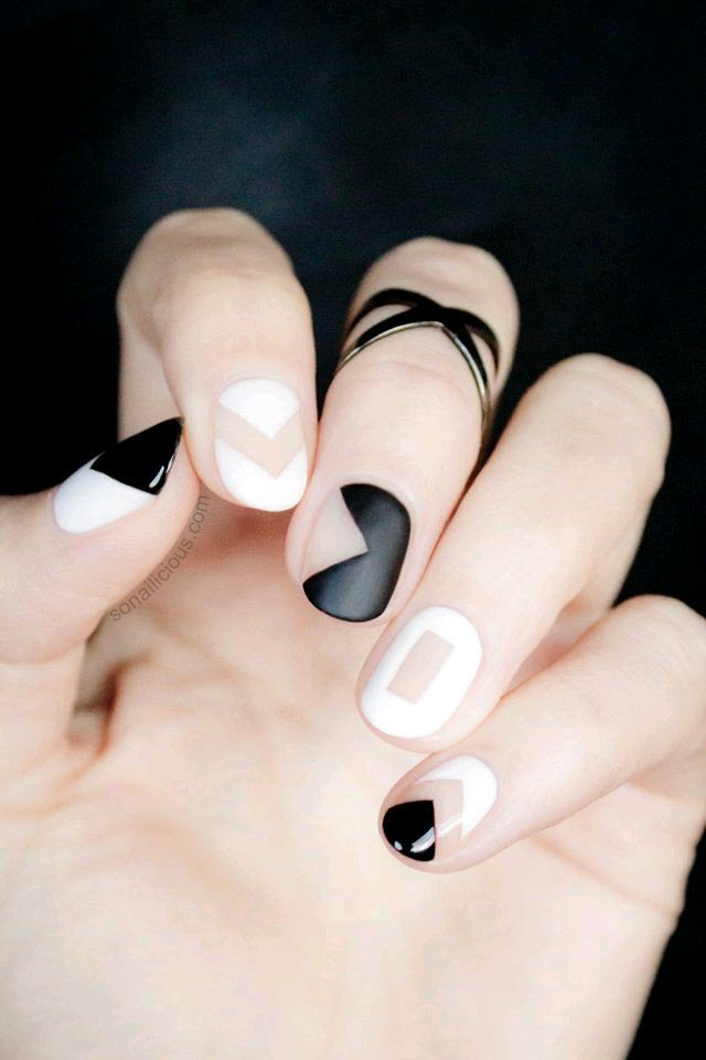 black and white mani with nude/bare nail cutouts // #manicure #shapes