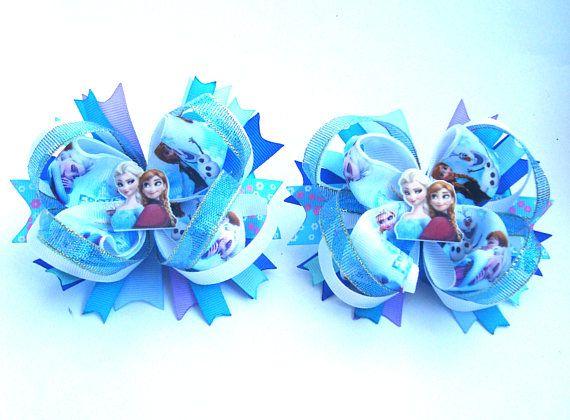 Frozen Blue Hair Bows Set Anna & Elza Sisters Olaf Cheerleader