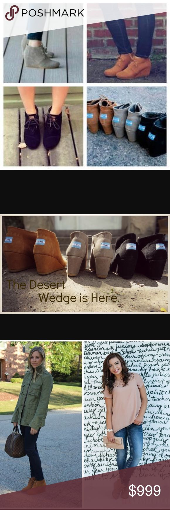 Inspiration for TOMS Desert Wedges A few more pictures to show how awesome TOMS Desert wedge booties are, and provide some visual styling ideas. Shoes Ankle Boots & Booties