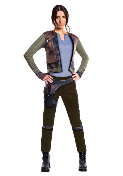 RUBIES ADULT STAR WARS DELUXE JYN ERSO – 3 SIZES  Jyn Erso, played by Felicity Jones in the new Star Wars: Rogue One movie is the heroine of the story. She fights her way out of Rebel custody, and is given the chance to join the top secret Death Star mission...and so the new legend begins.  The licensed Deluxe Jyn Erso adult costume features a printed jacket with attached shirt, pants and a printed belt. Boots are not included.