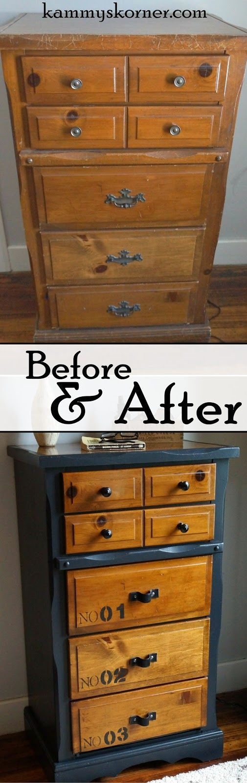 Kammy's Korner: Belt Strap Pulls on a Two Tone Dresser, stenciled on numbered drawers, and curtain finials for knobs