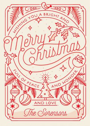 Merry Little Line Drawing Holiday Card from Minted.com