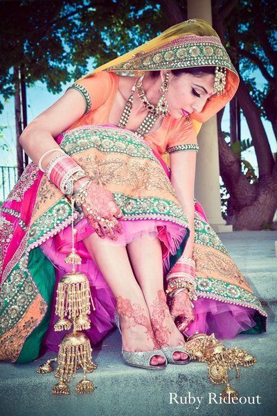 Colorful Punjabi Bride via http://rubyrideout.com/ ~ #Desi_Wedding Photography, Az, Ca, USA