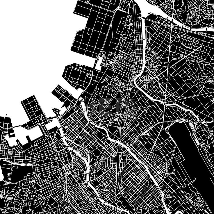 Fukuoka, Japan, downtown vector map.  Art print pattern. White streets, railways and water on black. Bigger bridges with outlines. This map will show ... ... #map #downloadable #background #vector #design