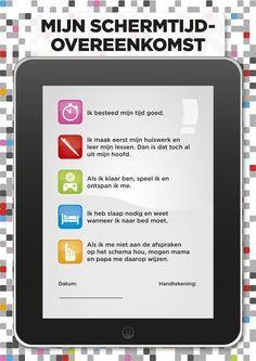 Zit je kind opvallend veel op de computer, de tablet of voor TV? Breng dan de beeldschermtijd in kaart en maak goeie afspraken met deze schermtijd-overeenkomst?