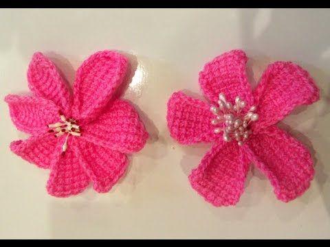 Простой цветок тунисским крючком (Tunisian crochet flower) - YouTube