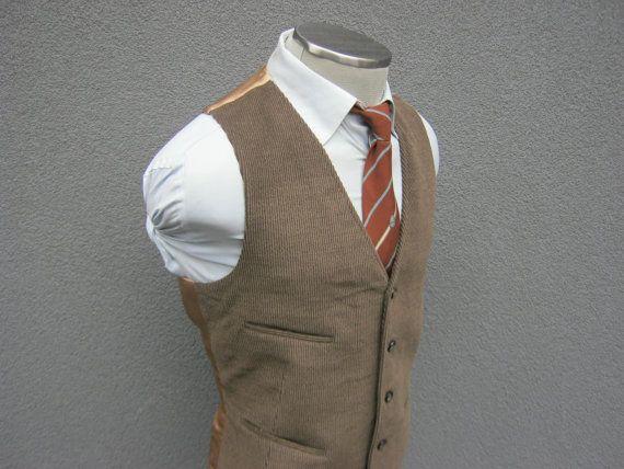 1960s Brown Corduroy Vest / Vintage Mens Waistcoat by BudeVintage