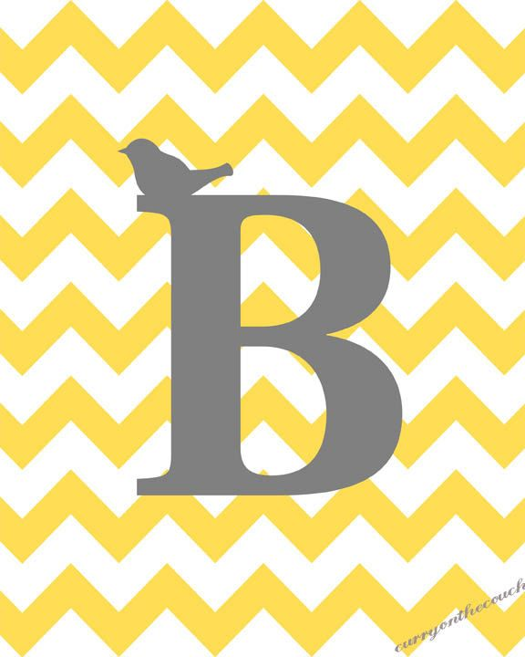 initial with bird on chevron background - yellow and gray - digital print