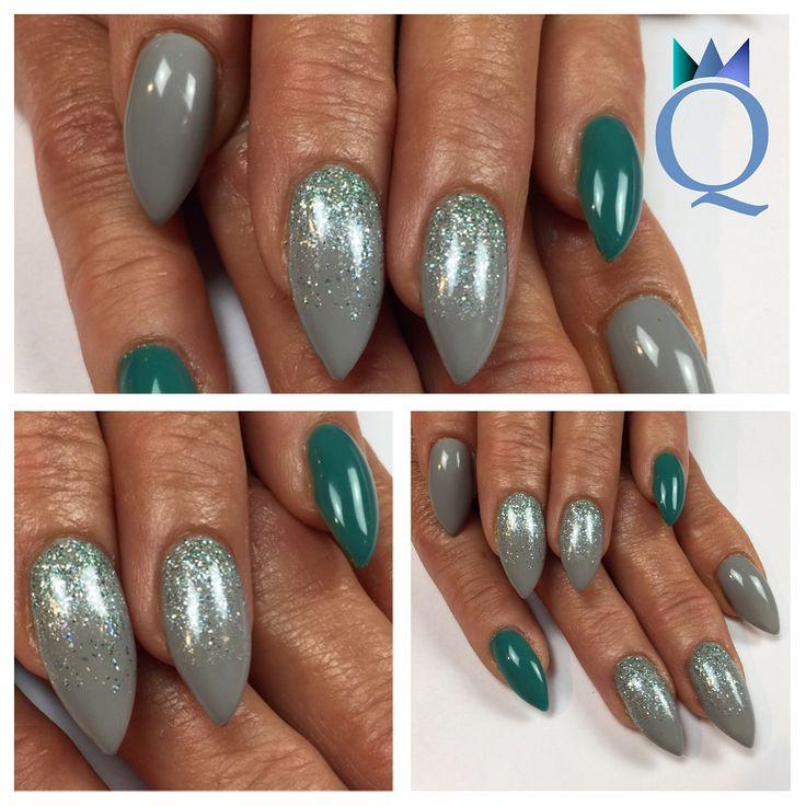 #stilettonails #gelnails #nails #grey #turquoise #glitter #stilettos #gelnägel #nägel #grau #türkis #glitzer #nagelstudio #möhlin #nailqueen_janine