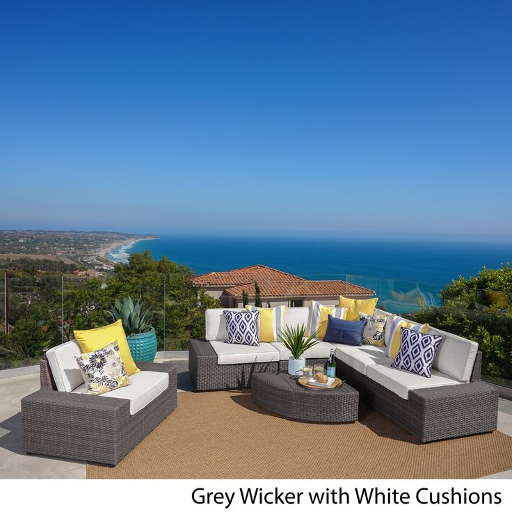 Santa Cruz Outdoor 7 Piece Wicker Sofa Set With Cushions By Christopher  Knight Home (Brown With Beige Cushions), Size 7 Piece Sets, Patio Furniture  (Fabric)