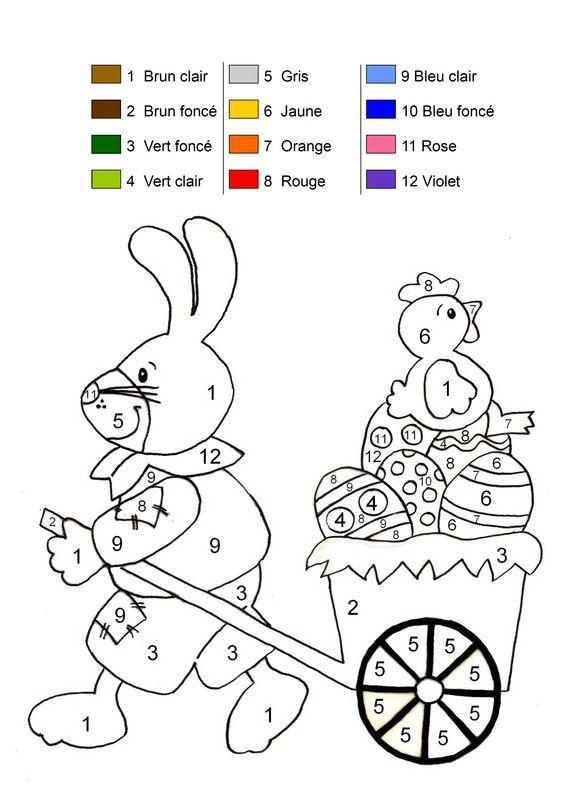 Coloriage magique - Lapin et poule de Pâques