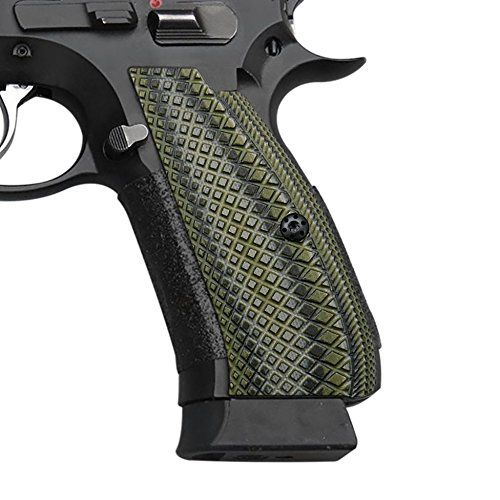 CZ 75 SP-01 Shadow G10 Grips, Snake Scale Texture, Cool Hand Brand OD/Black