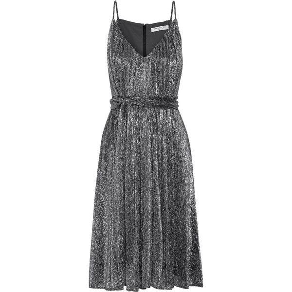 Halston Heritage Plissé-Lurex dress ($325) ❤ liked on Polyvore featuring dresses, silver, lurex dress, metallic dress, disco dress, glamorous dresses and halston heritage dress