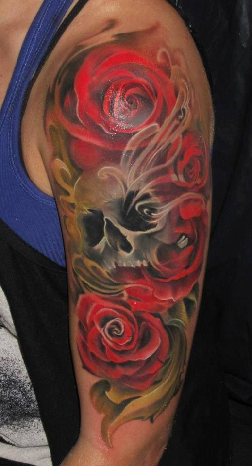 Red roses and skull sleeve tattoo.. Click on the pic for more #tattoos