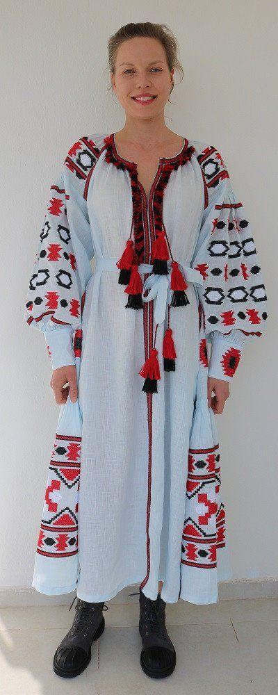 Fanm Mon Blue Linen Red Black Geometric Embroidery Vyshyvanka MIDI Dress Multi Color Embroidery size XS-XXL MD0113