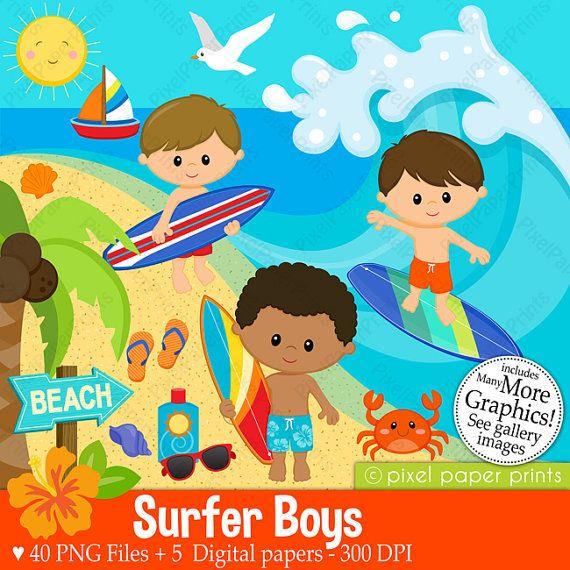 Surfer Boys Clipart - Clip Art and Digital paper set