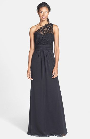 Would be pretty...but looks like they only have 2 sizes left (2 and 10). Jim Hjelm Occasions One-Shoulder Lace & Chiffon Gown available at #Nordstrom