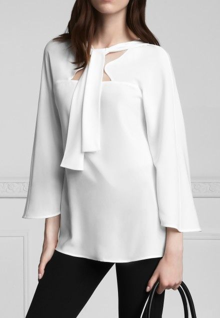 the unusual tie front of this Anne Fontaine blouse