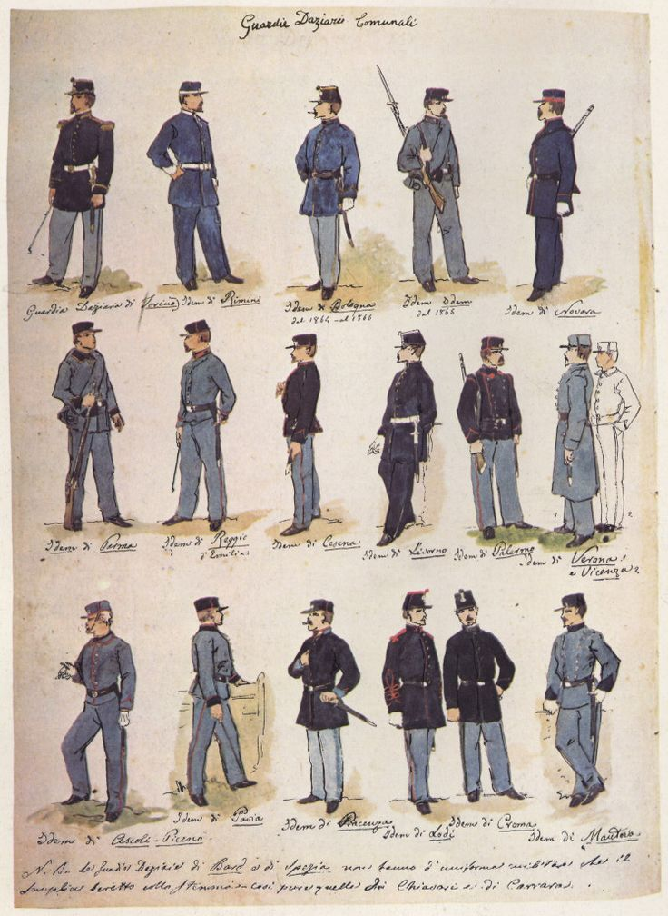 04 Uniformi di Guardie Daziarie Comunali negli anni 1860