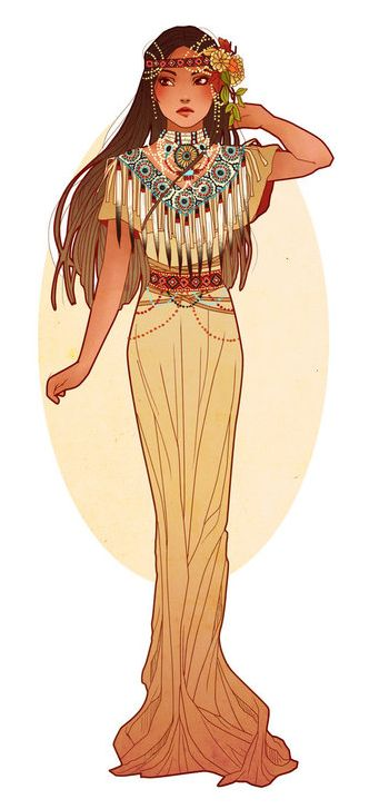 I love Art Nouveau renderings of Disney Princesses ~ Pocahontas