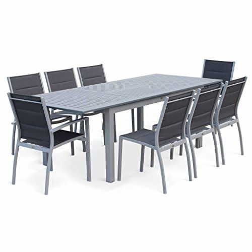 Salon De Jardin Table Extensible Chicago Gris Table En Aluminium 175 245cm Avec Rallonge Et 8 Assises En Textilene En 2020 Salon De Jardin Table Salon De Jardin