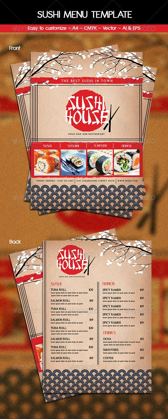 Sushi Menu Template  #GraphicRiver         This Sushi Menu Flyer Template can be used for Sushi House, Restaurant, japanese food, etc  	 File features  	 297×210mm A4 + 3mm Bleed  	 CMYK  	 Customizable Text  	 Front & Back  	 Vector  	 AI & EPS File  	 Font used :   .dafont /search.php?q=Chinese+Takeaway  .dafont /search.php?q=a+song+for+jennifer+bold  .dafont /search.php?q=Ageone+Regular 	 *Product images are not included  	 Thanks!                     Created: 26 November 13…
