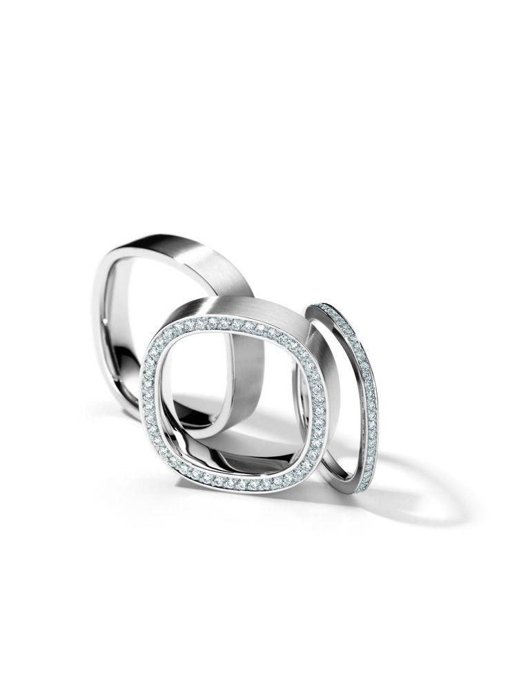 Henrich & Denzel, Platinum & Diamond square edged rings