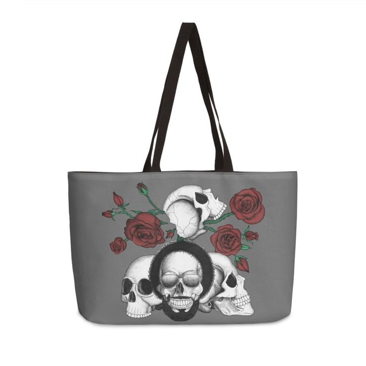 Grunge skulls and roses (afro skull included. Color version) by #Beatrizxe | #threadless #bag #tote #fashion Ink drawing of four skulls with a grunge and tattoo style. It is inspired in grunge, punk and rock music.  As background I added some roses with their stems and thorns. #skull #skulls #grunge #punk #rock #sunglasses #tattoo #rose #stem #thorns #death #dead #bones #black #white #ink #music #skeleton #illustration #artwork #drawing #art #tattooDesign #tattooStyle