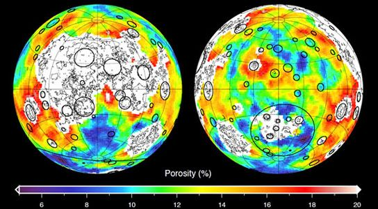 This image depicting the porosity of the lunar highland crust was derived using bulk density data from NASA's GRAIL mission and independent ...